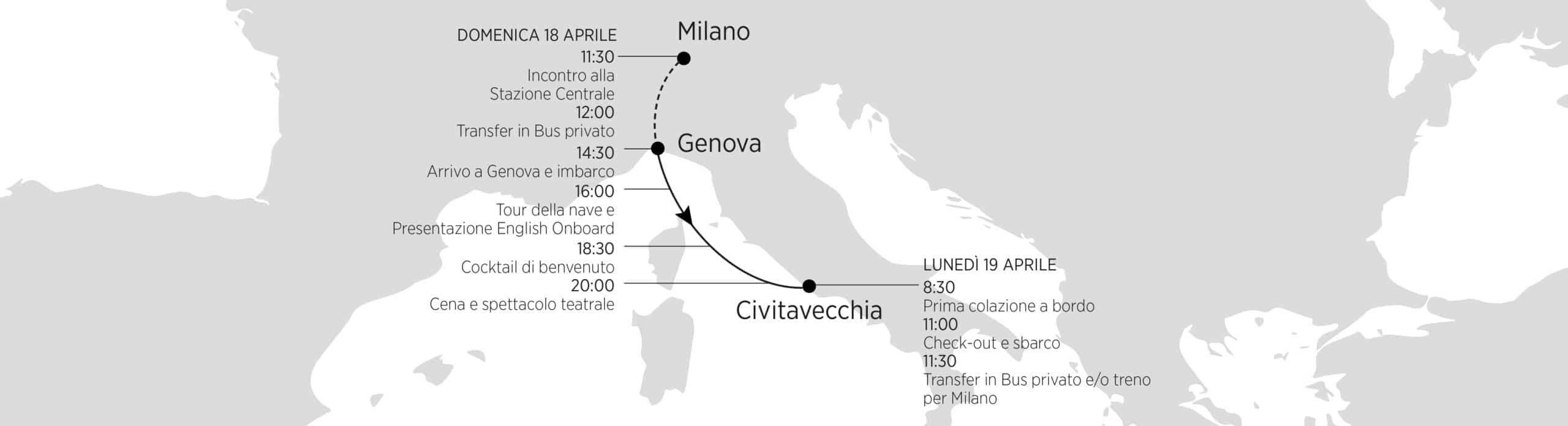 Programma tipo con partenza da Milano e imbarco da Genova il 18 Aprile 2021