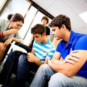 Embassy students in the common room at the Long Beach, Los Angeles school.